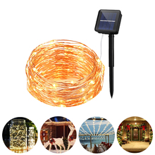 цены Solar String Light 100/120/150/200LED Copper Wire String Flasher Fairy Lights Waterproof Light With Solar Panel Party Decoration