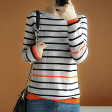 striped wool sweater women round neck thin pullover long sleeves short casual fashion elegant jacket knitted tops sweater women 2020 spring new fashion printed sequined round neck drop shoulder long sleeves short knitted sweater female m l