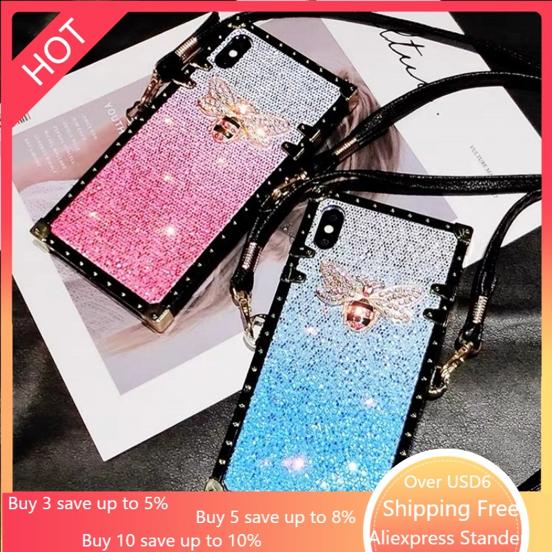 Metal square silicone Glitter Bee Adjustable lanyard phone <font><b>case</b></font> For <font><b>Samsung</b></font> Galaxy S8 S9 S10 Edge Lite Plus + Note 8 9 10 Cover image