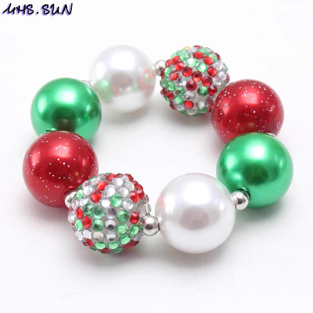 MHS. ใหม่เด็กคริสต์มาสลูกปัด Neccklace สร้อยข้อมือเด็กหญิง Chunky สีแดง/สีเขียวลูกปัดเครื่องประดับชุดสำหรับปาร์ตี้เด็กของขวัญร้อน