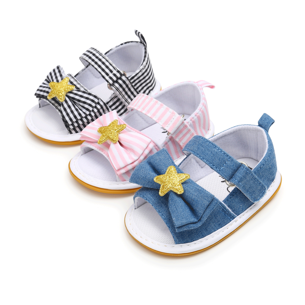 Baby Sandals Girls Boys Gingham Bowknot Star Newborn Infant Toddler Anti-Slip Rubber Sole First Walkers Summer Crib Shoes