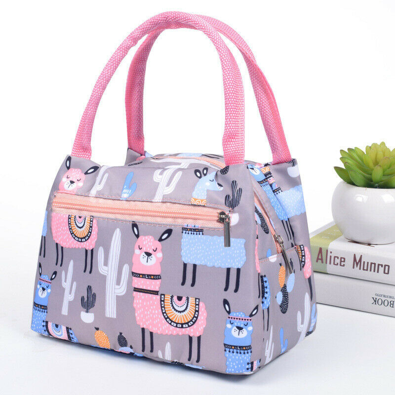 Cartoon Printed Lunch Bag Insulated Thermal Cool Bags Picnic Food Box Supply Print Zipper Lunch Bags Multi Colour Kids Lunchbox