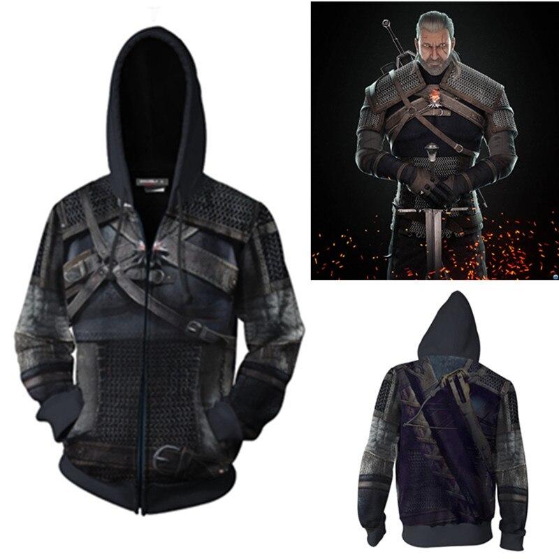 Wild Hunt Geralt Of Rivia Cosplay Costumes  Geralt Of Rivia Hoodie Jackets Cosplay 3D Printing Zip Hoodie Sweatshirts