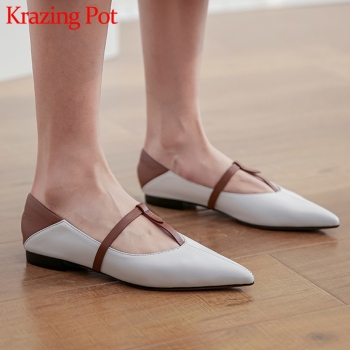 Krazing Pot full grain leather mixed colors low heels shoes pointed toe slip on daily wear comfortable spring women pumps L86