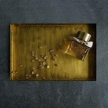 Bandeja de almacenamiento de Metal nórdico Retro pastel de fruta de oro postre juego de té plato rectangular de exhibición de joyería bandejas Vintage organizador placa