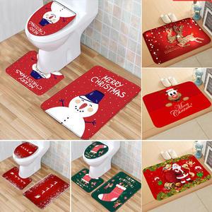 Toilet-Cover Navidad Bathroom-Set Christmas-Decoration Santa-Claus Home New-Year Happy