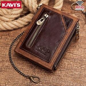 Image 5 - KAVIS Rfid 100% portfel ze skóry naturalnej mężczyźni Portomonee posiadacz karty monety kiesy mały męski portfel jakości Mini crazy Horse