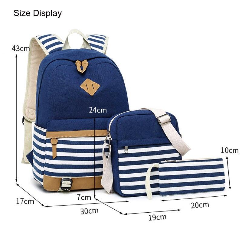Canvas Women's Backpack for Teenage Girls and Boys Striped Casual Daypack Female Rucksack Mochila Black School Backpack 3 pcs