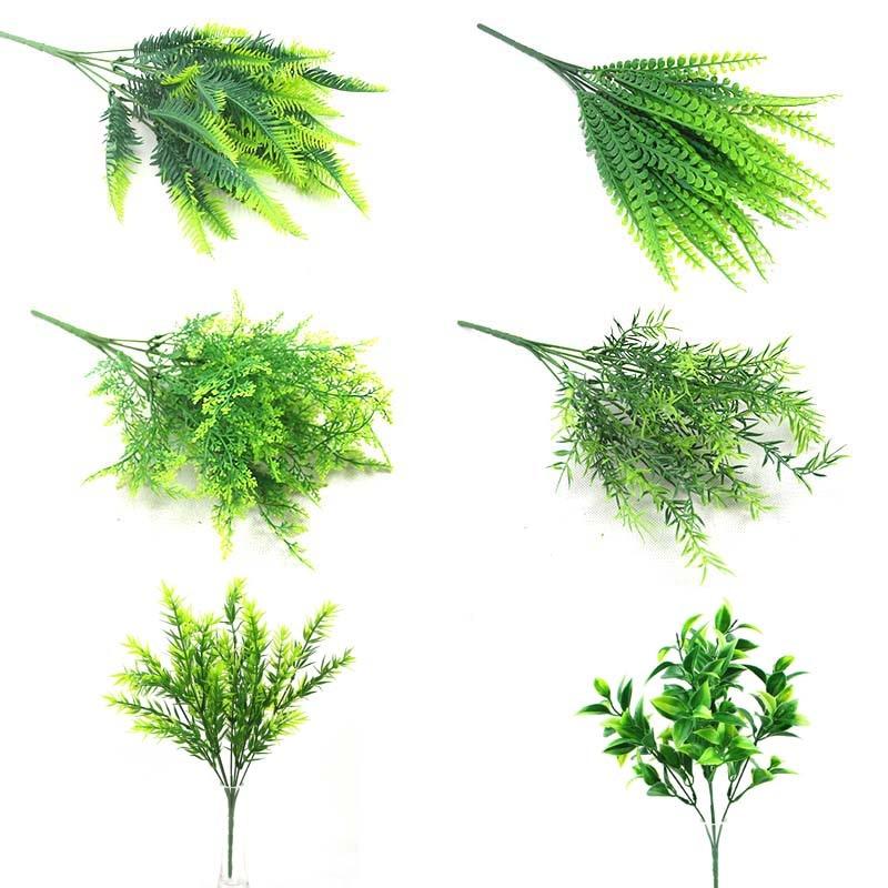 5 7 Fork Artificial Plants Simulation Grass Plastic Ferns Green Leaves Fake Flower Plant Wedding Home Decoration Table Decors Mega Promo F4e6d Cicig