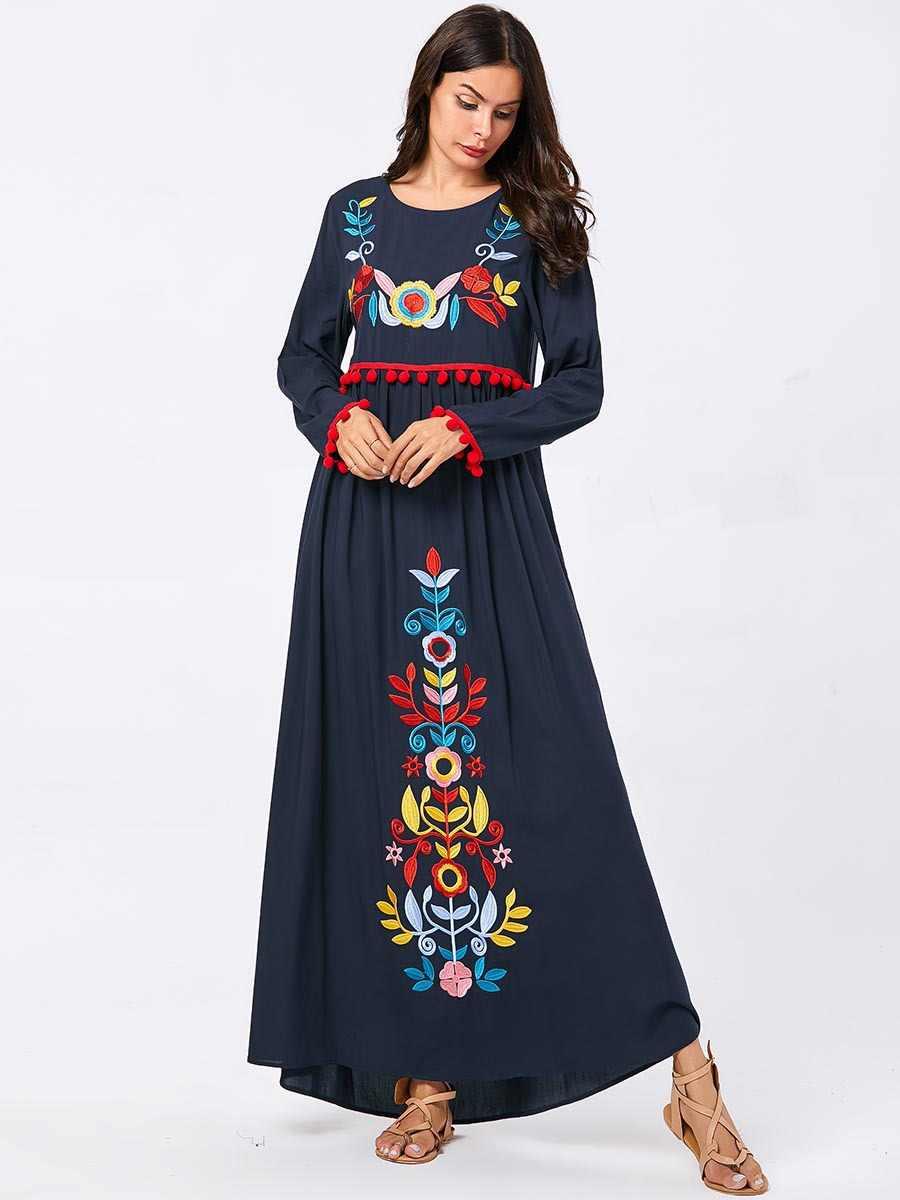 Для женщин дубай абая пакистан турецкий турция бангладеш исламская одежда размера плюс кафтан вышивка темно синий халат мусульманское платье