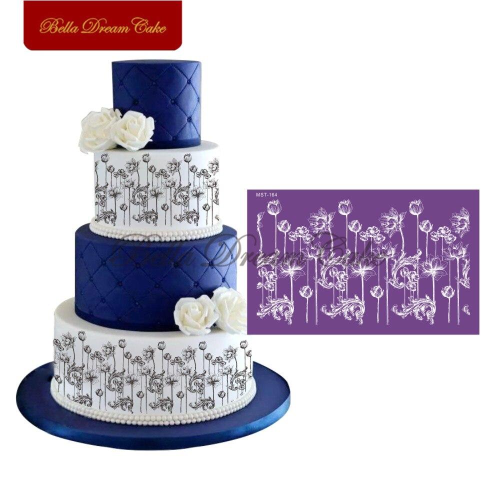 Купить лотос дизайн сетки трафареты кружева для торта помадка форма