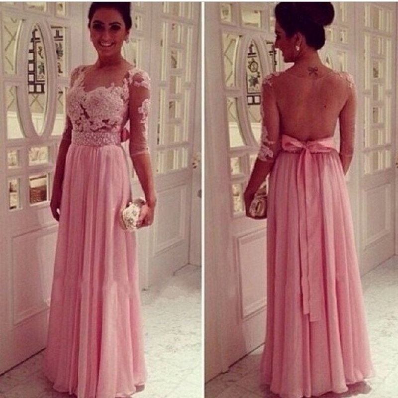 Elegant Long With Sleeves Party Chiffon Women Floor Length Formal Wear Gowns On Sale Bridesmaid Dresses