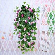 90 cm artificial falso pendurado videira planta petunia videira para festas de casamento decoração para casa parede pano de fundo flores flor artificial