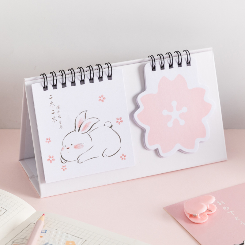 1 Pc Cute Calendar 2020 Cherry Rabbit Desk Calendar Kawaii Agenda Memo Pad  To Do List Stationery School Office Supplies