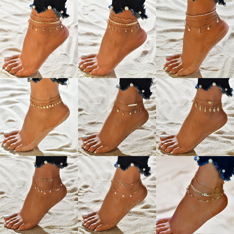 Modyle 3pcs/set Stars Anklets for Women Gold Color Bohemian Female Crystal Bead Anklets Summer Bracelet Jewelry Accessories