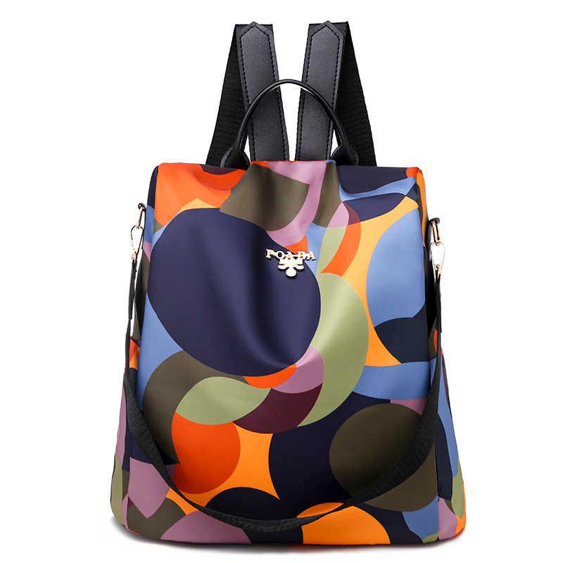 Alta qualidade à prova doxford água oxford feminina mochila moda círculos coloridos anti-roubo mochilas femininas senhoras grande capacidade mochila