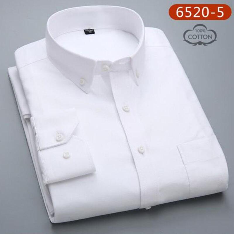 Hommes étudiants à manches longues mode bonbons couleur unie Oxford pur coton lavé Slim Fit chemises décontracté qualité grande taille - 5