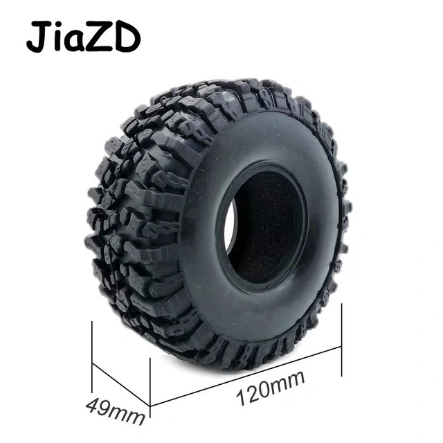 4PCS 120MM 1.9INCH Rubber Rocks Tyres Wheel Tires for 1:10 RC Rock Crawler Axial SCX10 90047 D90 D110 TF2 For TRX 4 W121