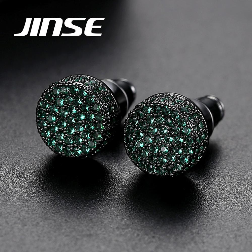JINSE Punk 9MM Round Cubic Zirconia Earrings For Men Classic Ear Studs Crystal Green White Male Earings Fashion Jewelry Brincos