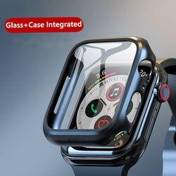 Etui + szkło do zegarka Apple 5 44mm 40mm iWatch 42mm 38mm 3D 9H osłona zderzaka + osłona ekranu zegarek Apple 4 3 2 1 seria 40 44mm w null od Zegarki na
