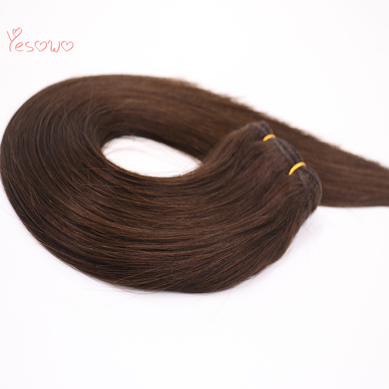 Yesowo Indian Hair Weaving 2# Cheap Wholesale Straight Double Drawn Human Hair Weft 100% Remy Hair Bundles Raw Unprocessed