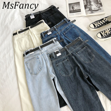2020 Spring High Waist  Jeans Women Fashion Harem Pants Ankle-Length Stretch Jeans With Belt Streetwear high waist jeans with belt