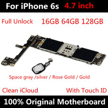 Voor Iphone 6S Logic Board 4.7Inch 64Gb Originele Moederbord Factory Unlocked Moederbord Met Touch Id Ios Update ondersteuning 16/128Gb
