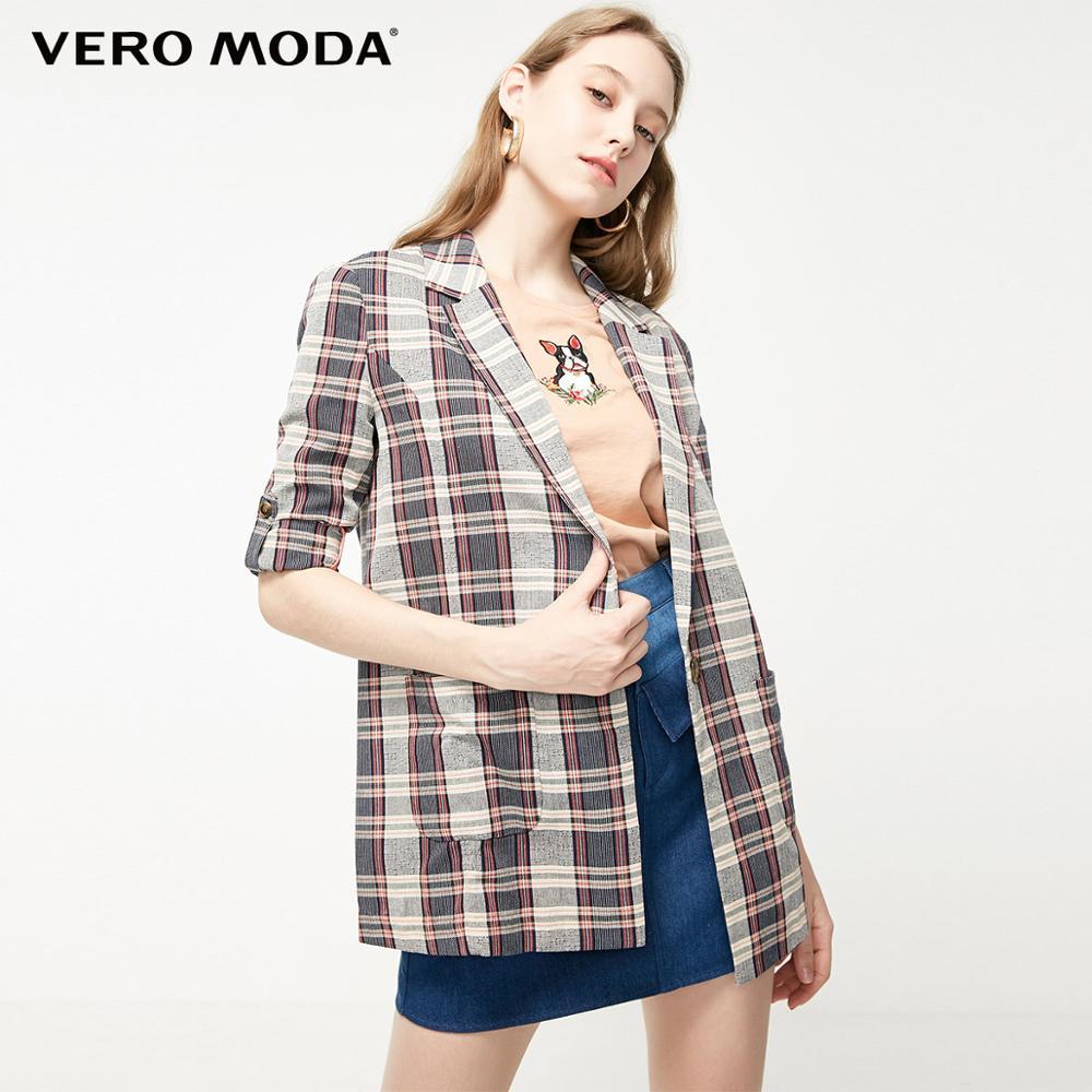 Vero Moda Women's One-button Lapel Plaid Blazer | 319208542