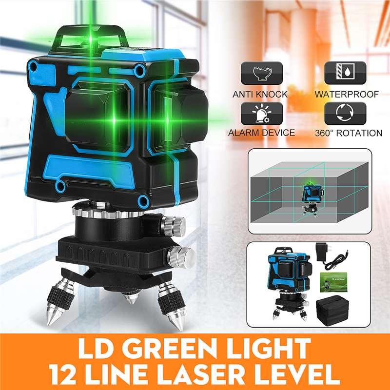 ZEAST 3D nivel láser autornivelador 12 líneas luz verde 360 Horizontal y Vertical Cruz súper potente línea de haz láser verde Nueva Luz LED de discoteca DJ RGB, luz de efectos de escenario, proyector láser con Control remoto, luces con Control de sonido inteligente para Bar KTV Party