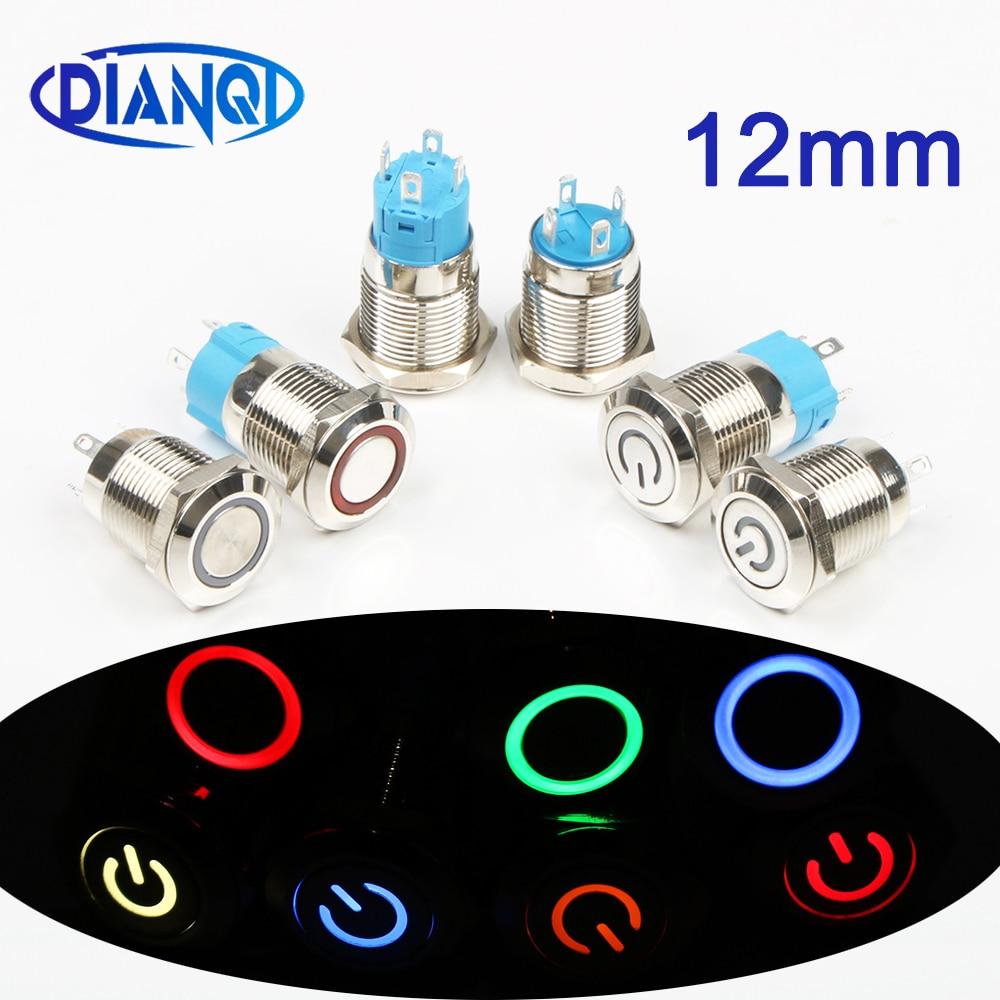 12mm LED 3V 5V 12V 24V 220V Metal Button Switch Momentary Latching Push Button Auto Reset Waterproof Illuminated Ring