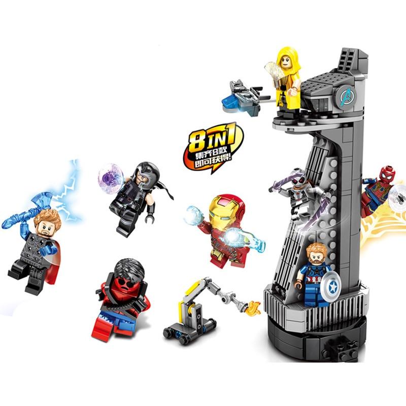 New SuperHeroes Ironman Spiderman Thor Ant-Man Legoinglys Mini Marvel Avengers Tower Endgame Building Block Bricks Boy Kid Gift Toy