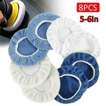 8 Uds 5-6Inc pulidor de coche Pad aplicador de microfibra pulidor de capó y la depilación con cera Pad con el dedo de bolsillo de algodón de lana de microfibra