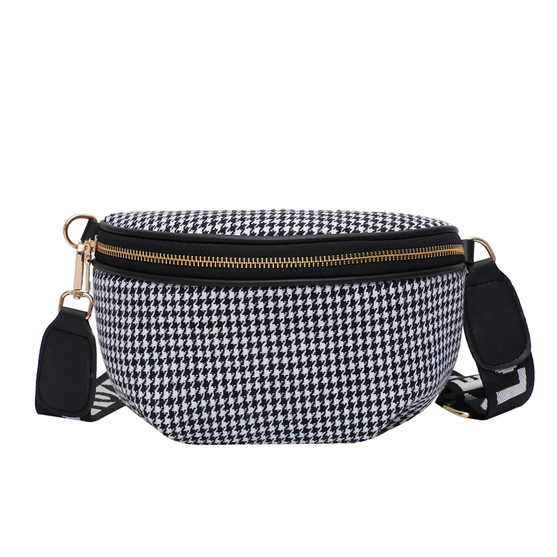 Women's Striped Stitching Waist Bag High Quality Fanny Pack PU Leather Shoulder Crossbody Bags Female Belt Bag Banana Chest Bags