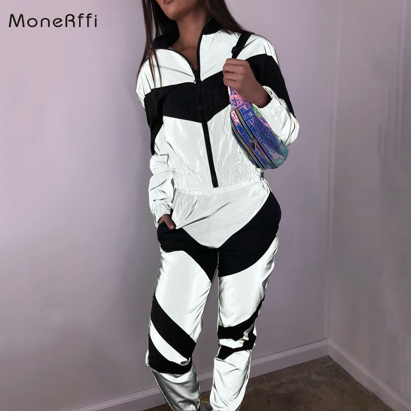 MoneRffi Women Tracksuits 2 Piece Set Reflective Crop Top Pants Fashion 2019 Ladies Loose Zipper Shine Jacket Coat Trouser Suit