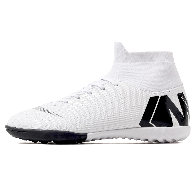 Zhenzu turf men branco sapatos de futebol crianças meninos botas de futebol alto tornozelo esporte tênis eur tamanho 35-44 scarpe da calcio