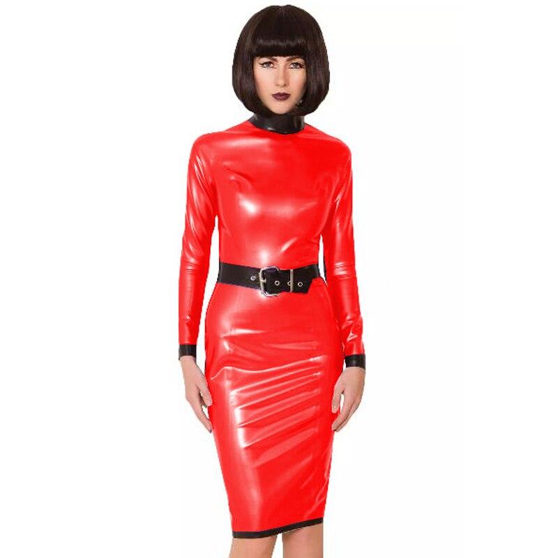 24 Colors Back Zipper Long Sleeve Knee Length Dress Lady Slim Vestido Fashion Patchwork Color Midi Dress Sexy Stage PVC Clubwear 22