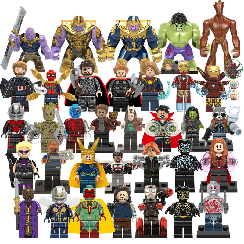 Legoes Marvel Super Heroes Assemble Building Blocks Avengers Thor Captain America Iron Man Spiderman Hulk Thanos Figure Kid Toys