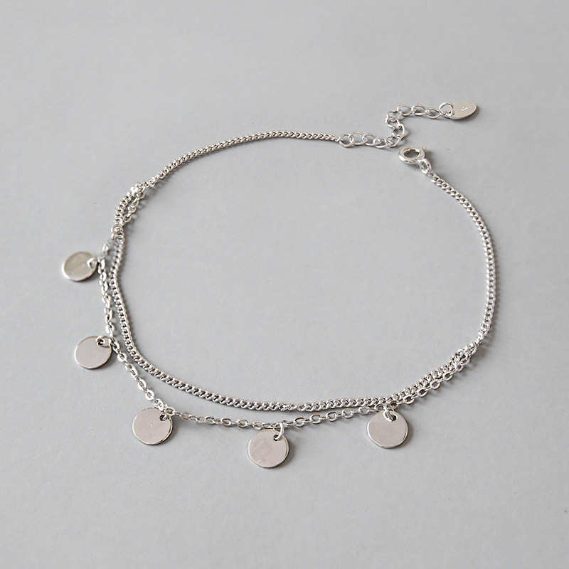 100% S925 Sterling Silver Tassel Round Coin double-deck Anklets Foot Chain Anklet bracelet Fine Silver Woman Beach Party Gift