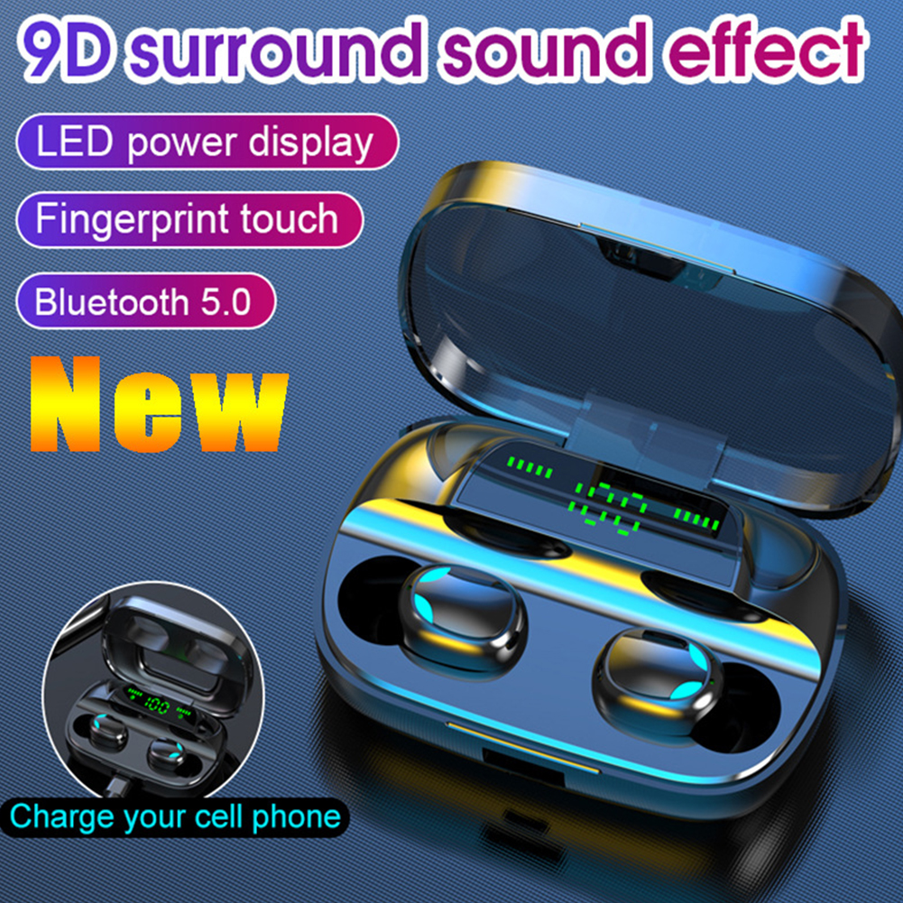 Bluetooth 5.0 Earphones 3500mAh Charging Box Wireless Headphone 9D Stereo Sports Waterproof Earbuds Headsets With LED display|Bluetooth Earphones & Headphones|   - AliExpress