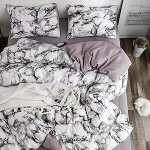 Image 2 - Frigg プリント大理石寝具セット白黒布団カバー王クイーンサイズのキルトカバー簡単な寝具布団カバー 3 個 2 個