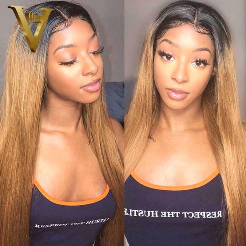 360 peluca Frontal de encaje brasileño Remy recto Ombre rubio miel 13x6 peluca con malla Frontal 1B 27 pelucas de cabello humano Frontal de encaje para mujeres