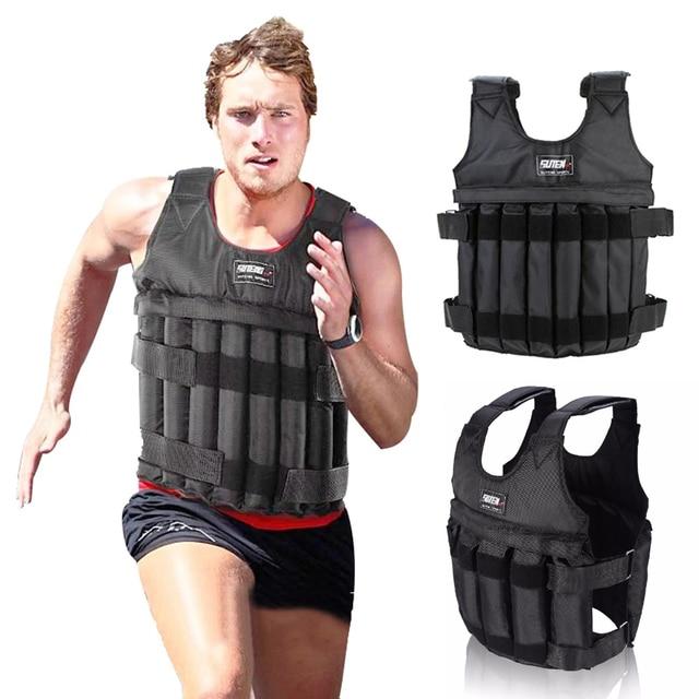 20kg 50kg Loading Weighted Vest Adjustable Exercise Training Fitness Jacket Gym Workout Boxing Vest Fitness Waistcoat 1