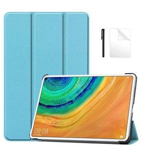 Magnetyczny futerał ze skóry PU dla Huawei MatePad Pro 10.8 2019 MRX-W09 W19 AL09 AL19 pokrywa dla Huawei MatePad Pro 10.8 Case + film + długopis
