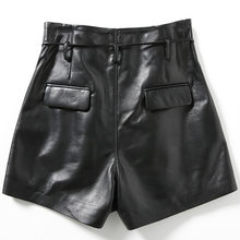 2020 Nuove Donne di Modo Sexy Del Cuoio Genuino Nero di Pelle di Pecora Shorts Lace Up Sottile di Alta Qualità Femmina Dritto Shorts Gonne 3XL(China)