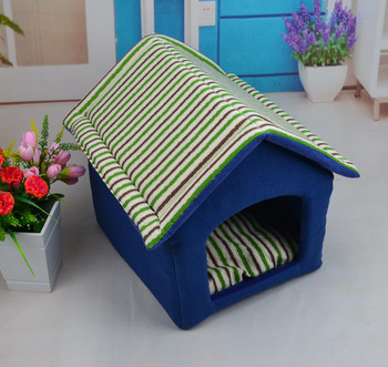 Striped Cotton Linen 3D PP Cotton Removable Cover Pet House Washable Dog Cat Nest Teddy Chihuahua Semi-closed Pet Supplies