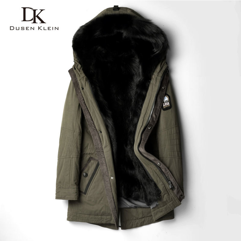 Designer Brand Trench Coat Men Long Hooded Wolf Fur Liner Jackets Luxury Warm Thick Outerwear  Winter New Black NW1125
