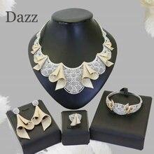 Dazz Luxury Flower Nigerian Wedding Cubic Zircon Jewelry Set Plated Gold For Women Wedding Party African Bride Dubai Accessories цены