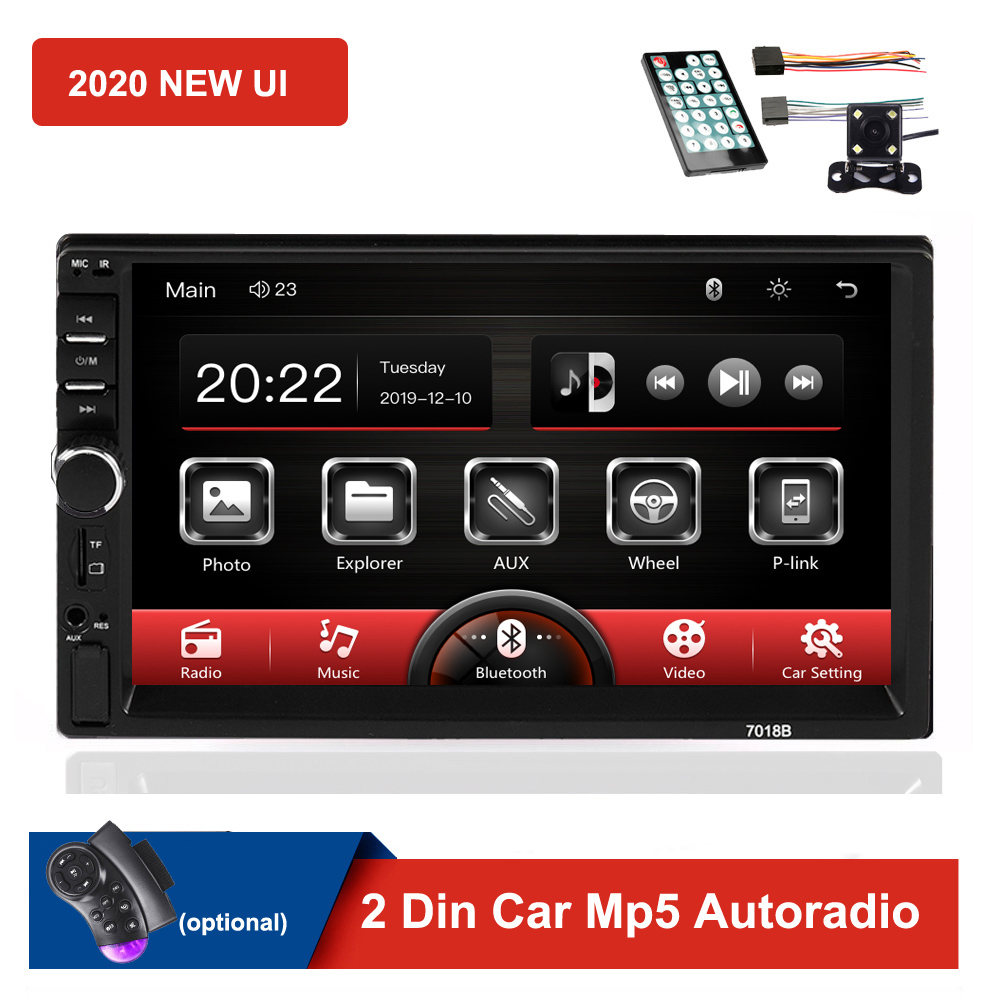 2020 New 2 Din Car Radio <font><b>7018B</b></font> Autoradio Mirror Link Touch Screen Audio Radio Bluetooth Video MP5 7