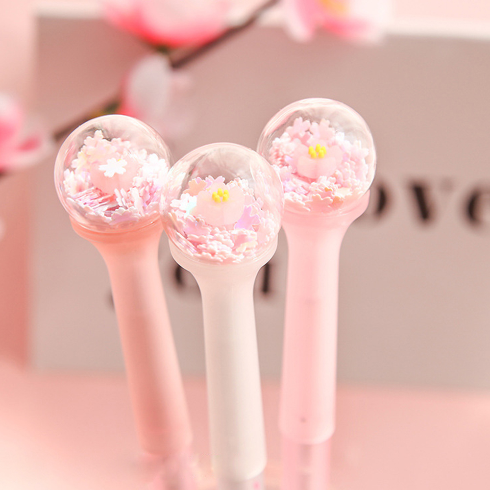 1 Pcs Novelty 0.5mm Gel Pen Crystal Cherry Blossom Quicksand Student Writing Signature School Office Stationery