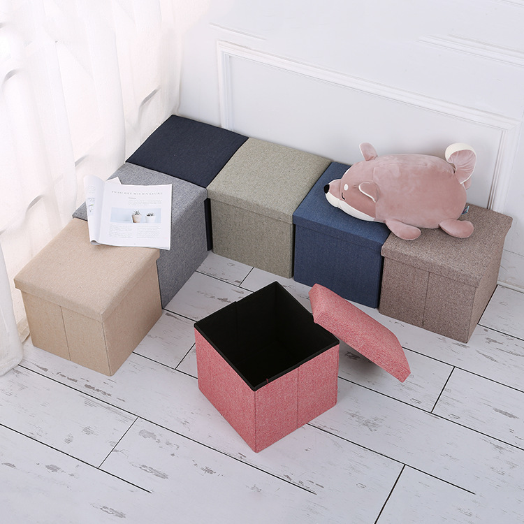 Solid Color Storage Chair Clothes Toy Organizing Simple Linen Storage Stool Folding Storage Stool 48X30X30 Cm